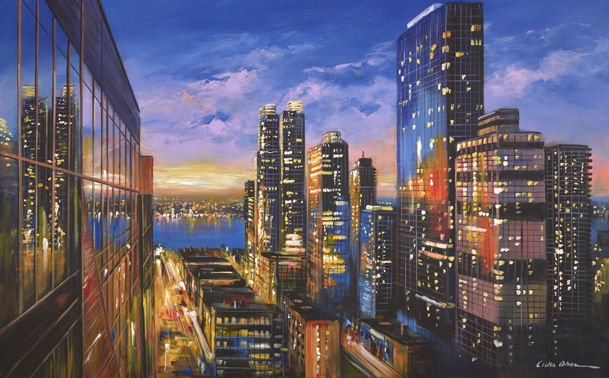 New York View III by csilla orban -  sized 48x30 inches. Available from Whitewall Galleries